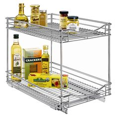Found it at Wayfair - Professional Roll-Out Cabinet Double Drawer in Chrome - Might be useful under sink?
