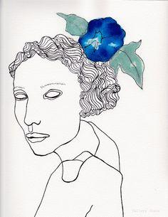 female portrait pen line drawing, 9 x 12.