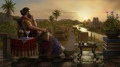Sargón I, vencedor en la batalla de Uruk y creador el imperio acadio, en una bucólica escena contemplando el paisaje.
