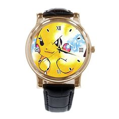 Pokemon Yellow Custom Casual Leather Watches Analog Gold Quartz Movement Wrist Watch – Pokemon Watch Pokemon Watch, Leather Watches, Watch Case, Gravity Falls, Watch Bands, Jewerly, Pikachu, Men's Fashion, Black Leather