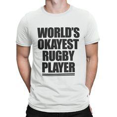 Worlds Okayest Rugby Player Tshirt Mens Boys Gift Funny Fashion T Shirt TR40