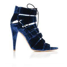 Midnight blue velvet, lace up stiletto, Loeffler Randall