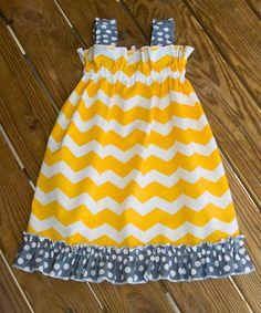 Yellow Chevron Dress, Ruffle Sundress, Girls Spring Chevron Dress, Made to Order, Baby Girl Dress,. $33.00, via Etsy.