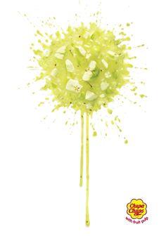 2/3 Excelente anuncio de Chupa Chups para representar que su sabor es idéntico a la de las frutas. La #solucion fue crear una explosión de frutas que representara su paleta.