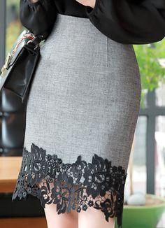 Floral Lace Hem H-Line Skirt, Styleonme