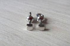 Silver Stud Earrings Cube Studs Male Post Stud by RedSilverStudio
