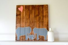 Reclaimed Wood Art Sign: Mom and Dad Elephant with baby Elephant Love with heart Grey and Pink