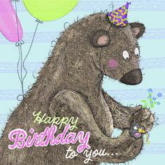 Großer Bär schenkt kleiner Maus einen Blumenstrauß... Art And Illustration, Bear, Children, Birthday, Illustration Children, Cards, Toddlers, Boys, Kids