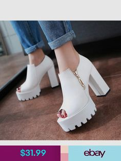 Fashion Shoes #ebay #Clothing, Shoes & Accessories Black Shoe Boots, Shoes Heels Boots, Heeled Boots, Sock Shoes, Cute Shoes, Me Too Shoes, Chunky Heel Platform Sandals, Girls Heels, Snow Boots Women