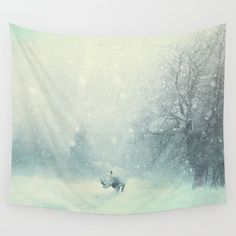 Different dont mean weak Wall Tapestry. #photography #animals #landscape #nature #digital #digital-manipulation #strong #life #hard #struggle #be-different #winter #snow #digital-art #rhino #powerful #emotional #be-your-self #different #original #fine-art