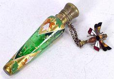 Victorian Chatelaine Ring Enamel Moser Glass Scent Perfume Bottle Butterfly