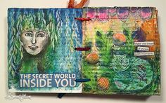 An art journal using Carolyn Dube's Permission to Play workshop • AtopSerenityHill.com #artjournal #stencils #mixedmedia