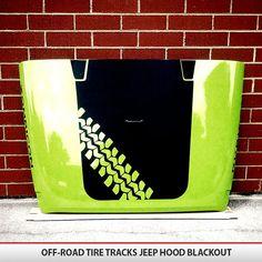 Custom OffRoad Tire Tracks Hood Blackout Decal Vinyl by AlphaVinyl