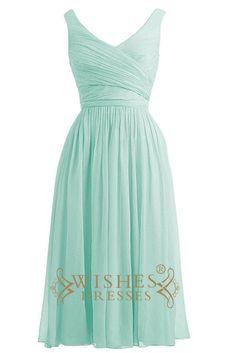 V Neckline Ruched Bodice Knee Length Bridesmaid Dresses/ Mismatch Bridesmaid Dresses Am15