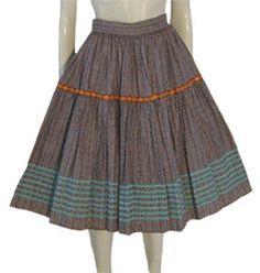 1950s Brown Cotton Rockabilly Skirt