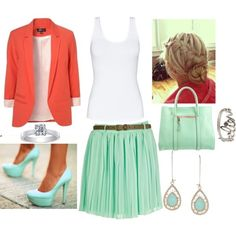 Coral blazer and sea green skirt outfit. Perfect for a romantic date in the spring or summer.
