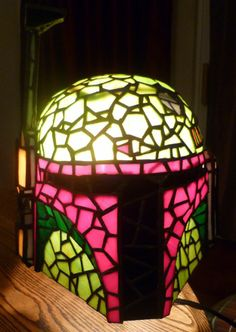 Boba Fett Tiffany Style lamp. Stained glass, Star Wars.
