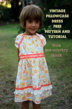 Vintage pillowcase refashioned dress tutorial and free pattern download for sizes 2-5.