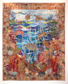 """Turtle Bay"" by Claudia Pfeil. Best Pictorial Quilt, 2015 Festival of Quilts (Birmingham, UK)."