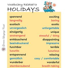 Vocabulary related to holidays! . . Want to know more? Then Come join us and learn german with us and broaden your career Opportunities! .. .. Follow @germanlanguagecircle  Follow @germanlanguagecircle  Follow @germanlanguagecircle  Follow @germanlanguagecircle .. .. #germanlanguage #germanlanguagecircle #vocabulary #vocabularywords #vocabularylearning #germanvocabulary #vokabeln #lernen #vokabelnlernen #sprache #sprachenlernen #learn #vocabularytime #deutschland #deutsch #studygerman #studygerm Study German, Learn German, Wise Decisions, German Language Learning, I Want To Work, Future Career, Career Opportunities, Vocabulary Words, Feeling Happy