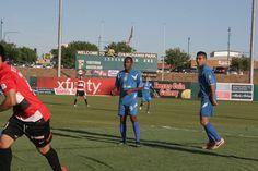 LA Misioneros FC striker Saeed Robinson playing fair against the Fresno Fuego in the season opene