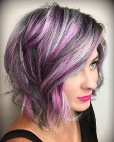 Here's the after pic of my model @marissarmiller that I broadcasted doing the @sugarbearhair Snapchat take-over today. It started with her hair 3 months grown out...WITHOUT a full bleach retouch. I used @kenraprofessional Silver Metallics, pink fashion color and styled using @sexyhair products. Check it out to see how to blend regrowth with fashion color between appointments ;) #haircolor #hair #lob #sugarbearhair #snapchat #colorfulhair #hairstyle