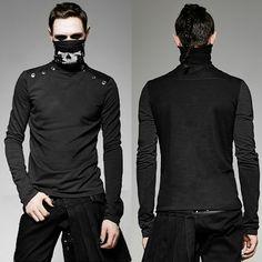 Men Black Long Sleeve Gothic Punk Rock Fashion Turtleneck Top SKU-11409383