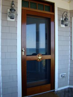 Wooden Screen Storm Door 009 Custom Screen Doors, Wooden Screen Door, Wooden Doors, Exterior Door Hardware, Exterior Doors, Screen Door Handles, Screen Door Hardware, Shiplap Trim, House On A Hill