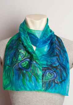 Elegant Present Hand Painted Silk  Long Scarf with by LigaKandele