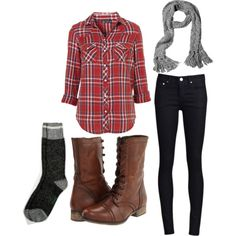 """""""Christmas Cozy"""" by lorna-harriman on Polyvore - love this outfit! Skinnies, socks, the boots, the scarf, and plaidddd!"""