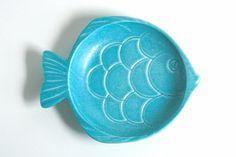 Mid Century Aqua Haeger Ceramic Fish Dish by WiseApple on Etsy