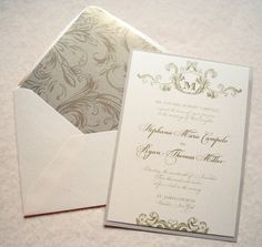 Ivory Champagne and Gold  Wedding Invitations  by WhimsyBDesigns, $6.00