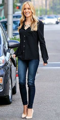 A simple black top, heels, and jeans, timeless.  -- 60 Great Spring Outfits On The Street - Style Estate -