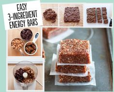 Easy Energy Bars - Nuts, Dates, and Dried Fruit!  Combine, Crush, Cool, and Cut!