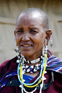 Masai woman, Tanzania Crochet Necklace, Beaded Necklace, African, Woman, Tanzania, People, Faces, Portraits, Color