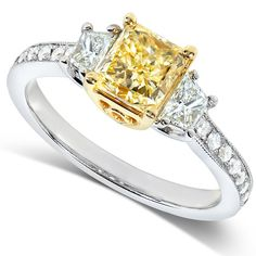 Fancy Yellow Radiant Three-Stone Diamond Engagement Ring 1 carat (ctw) in Gold (VS) One-of-a-Kind Fancy Light Yellow Radiant Diamond Engagemen Yellow Diamond Rings, Diamond Stone, 3 Stone Engagement Rings, Fashion Rings, Bling, Fancy, Wedding Shit, Wedding Rings, Wedding Ideas