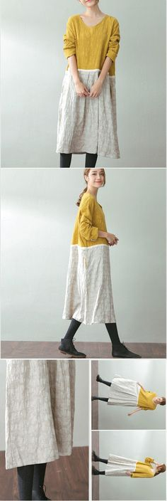 BUYKUD-Women autumn cotton linen round-neck dress,design for refreshing look and Bohemian style.It's a good look to change morning mood.Have a Look in buykud.com .