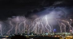 These stunning pictures show hundreds of lightning bolts in full force illuminating the night sky in South Africa.  Alexius van der Westhuizen, a 46-ye...