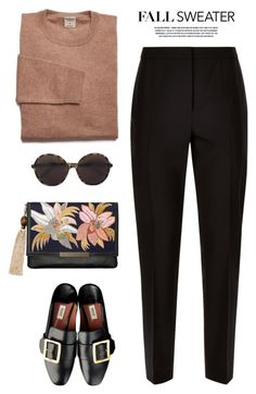 """""""Fall sweater"""" by yexyka ❤ liked on Polyvore featuring Jaeger, Lizzie Fortunato and Valentino"""