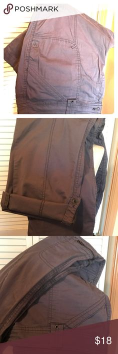 """+ JC Penney St Johns Bay Cargo Pants Plus 20W Gray These cargo pants are great to wear all year! They are convertible and roll up to be capris in the summer, and roll down for winter slacks. 98% cotton, 2% spandex. I have 2 more pairs in my closet, black ones and dark blue. Waist 22"""" across, inseam 30"""", length 41.5"""" waist to hem. jcpenney Pants"""
