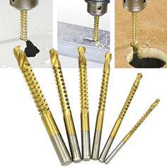 6pcs Mini HSS Hemp Flowers Titanium Coated High Speed Steel Drill Bit Electric Drill Tool Set Woodworking Drill Bits