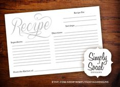 INSTANT DOWNLOAD Bridal Shower Recipe Card by SimplySocialDesigns, $10.00