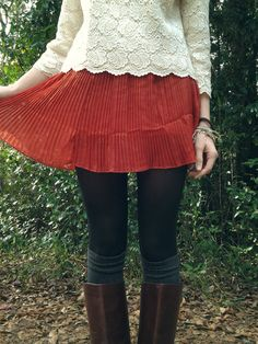Cute -fall skirt, boots, lace top. Love this!!
