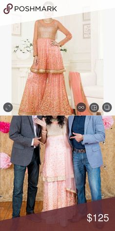 Peach pink sharara lehenga Size 38 M Indian Elegant Pink Sharara kameez wedding wear. Wore it to my baby shower and felt like an absolute princess 👸 . guaranteed to bring you many compliments.   The color is More baby pink that peach.   Inspired by Sabyasachi's design.  Gorgeous sequinned size 38 bust with net bottomed. Floral thread embroidery. Instead of palazzo, I made a lehenga skirt bottom  instead. Hence The waist can be easily adjusted to most sizes.   Perfect for weddings and…