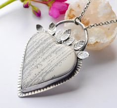 Silver Statement Heart Necklace with Bezel Set by EONDesignJewelry