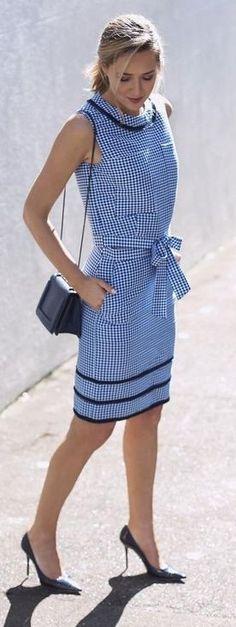 Blue Gingham Dress + Pop of Black