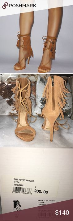 SCHUTZ KIJA in Brownie Suede Fringe Lace up sandal. Beautiful camel color. Has a zipper in the back so they are easy to put on. I wore them once. The tiniest bit of scuffing on the sole . The rest of the shoe is in perfect condition. Original box and dust cover included. SCHUTZ Shoes Heels