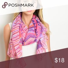 JUST ARRIVED!!! Pink/Purple Aztec Scarf Pink/Purple Aztec scarf. Light and soft. 100% acrylic. L:  62 W: 28. New.  Get 10% off when you bundle two or more items from my closet. Accessories Scarves & Wraps