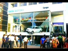 Damage to a TataMotors showroom in Chandigarh after today's earthquake