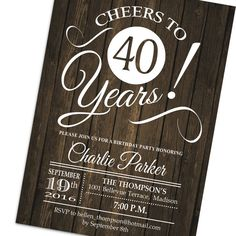 40th Birthday Invitation / Any Age / Rustic Invite / Cheers to